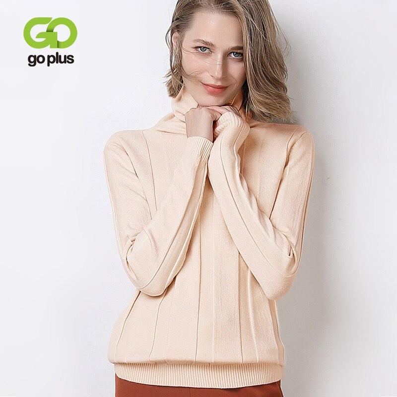 GOPLUS 2019 Winter Turtleneck Knitted Women's Sweater Soft Warm Stripe Long Sleeve Sweaters Women's Jumper Streetwear Pull Femme