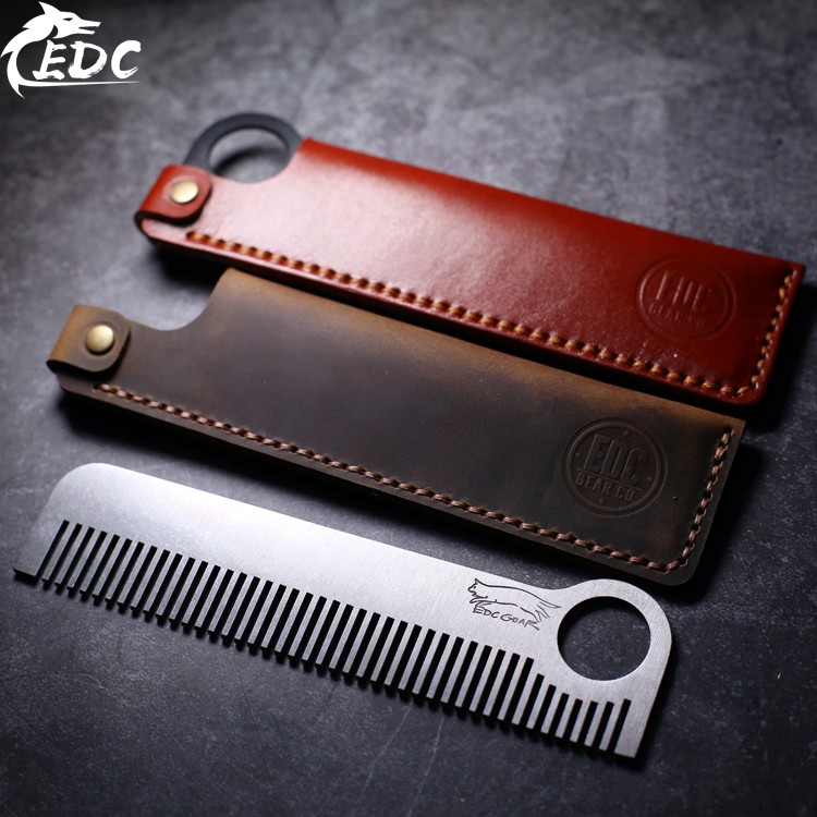 A116 Outdoor EDC Tactical Head Comb Hand-stitched Leather Case Leather-tanned Leather Case Stainless Steel And TC4 Comb Optional