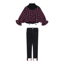 Children\'s Clothing Kid Baby Girl Clothes Long Sleeve Plaid Shirt Pants Outfits girls floral blouse kid s clothes long sleeve off shoulder tops children clothing summer girl s outfits