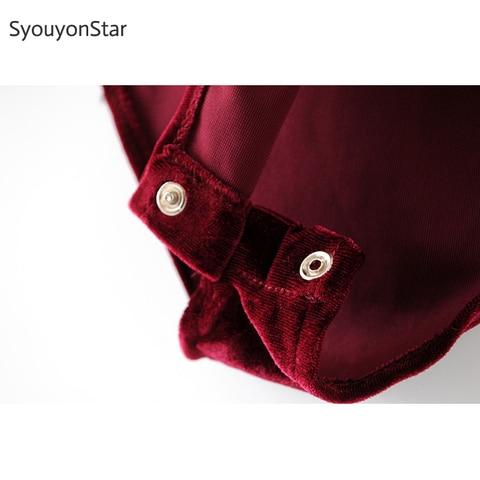 SyouyonStar Velvet Bodysuit Women Jumpsuits Deep V Neck Long Sleeve Autumn Rompers Sexy Slim jump suit body Red Bodysuits Multan