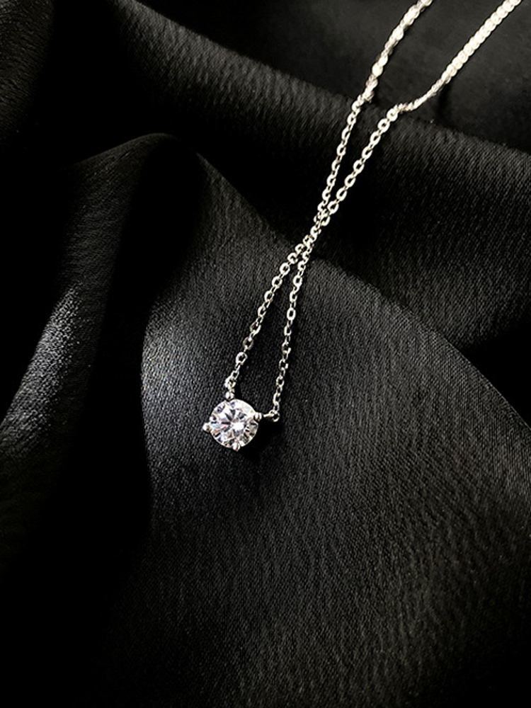 Trendy 925 Sterling Silver O-Chain Necklace 0.3cm/0.4cm/0.5cm Zircon Necklace For Women
