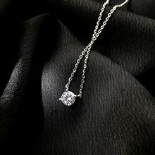 Ожерелье-цепочка женское из серебра 925 пробы с фианитами 0,3/0,4/0,5 см