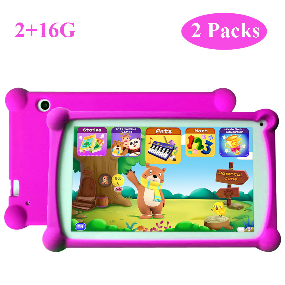 Kids Tablet, B.B.PAW 7 Inch HD Display 2+16G Android 6.0 Tablet For Adults&Kids, 120+ English Learning Preloaded Apps-2 Packs