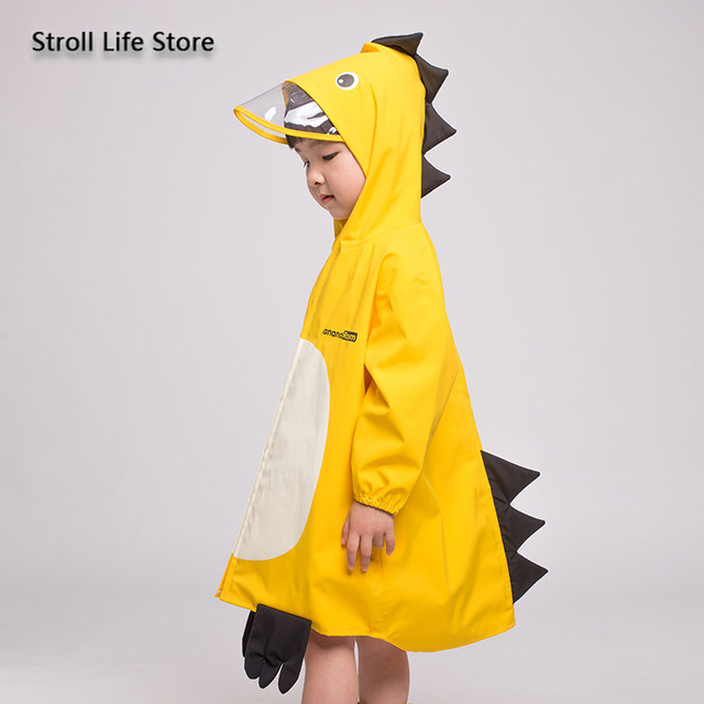 Girl Kids Raincoat Yellow Cute Old Pink Cartoon Rain Coat Jacket Long Rain Poncho Waterproof Suit  Dinosaur 2-6 Years Gift Ideas 4