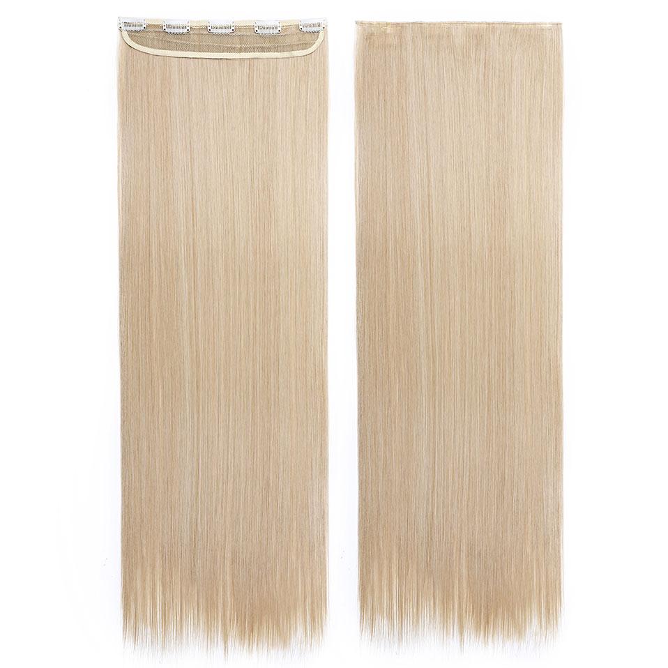 S-noilite, накладные волосы на заколках, черный, коричневый, натуральные, прямые, 58-76 см, длинные, высокая температура, синтетические волосы для наращивания, шиньон - Цвет: dark blonde mix 613