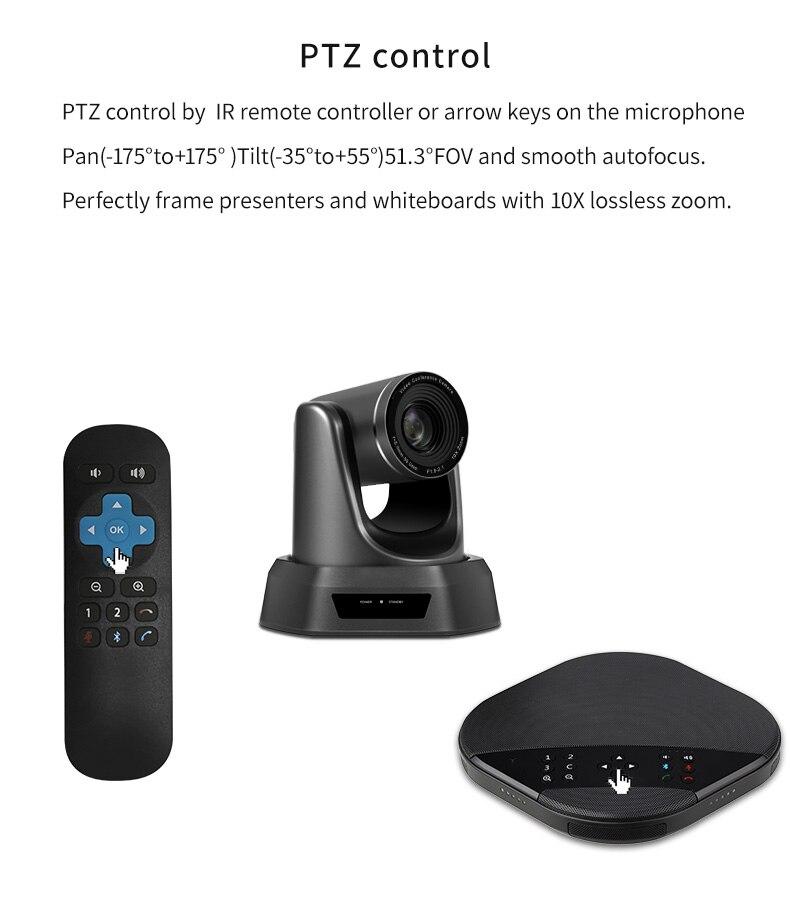 Tenveo va3000e 2mp 10x zoom solução de vídeo conferência de áudio sistema de videoconferência grupo speakerphone e hub para transmissão-4