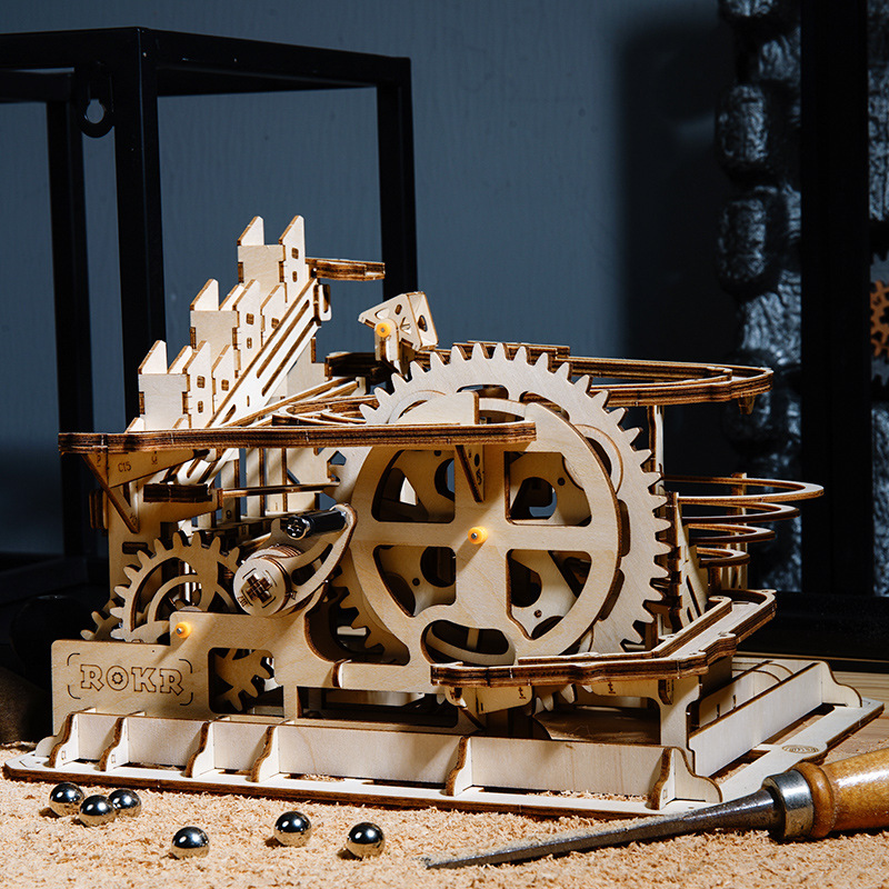 Creative 3D DIY Wooden Puzzle Mechanical Gear Drive Model Toys Assembly Steam Stem Building Series Model Kits Children Boys Toys