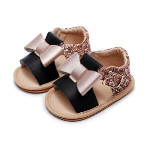 2020 Summer Baby Sandals Summer Crystal Princess Sandals Toddler Cute big bow Fancy shiny sequins flat Shoes hard sole sandals(China)