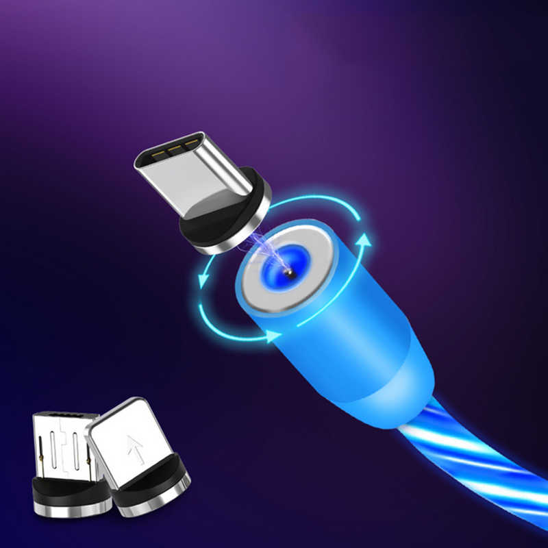 Manyetik şarj cep telefonu kablosu akış ışıklı aydınlatma kablosu şarj için samsung LED mikro USB iphone için tip C