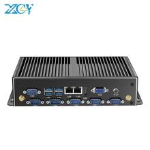 Quạt Không Cánh Công Nghiệp Máy Tính Mini PC Intel Core I7 4500U I5 4200U Windows 10 Linux 6xRS232 RS485 Dual NIC HDMI VGA 4G LTE 8XUSB