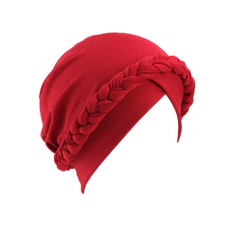Hebe640783a8f4e3182fd1e96e69ec2e0h - NEW arrival Retro Women Braid India caps Muslim Cancer Chemo full cover-up  Beanie Hair Loss Turban femme Wrap