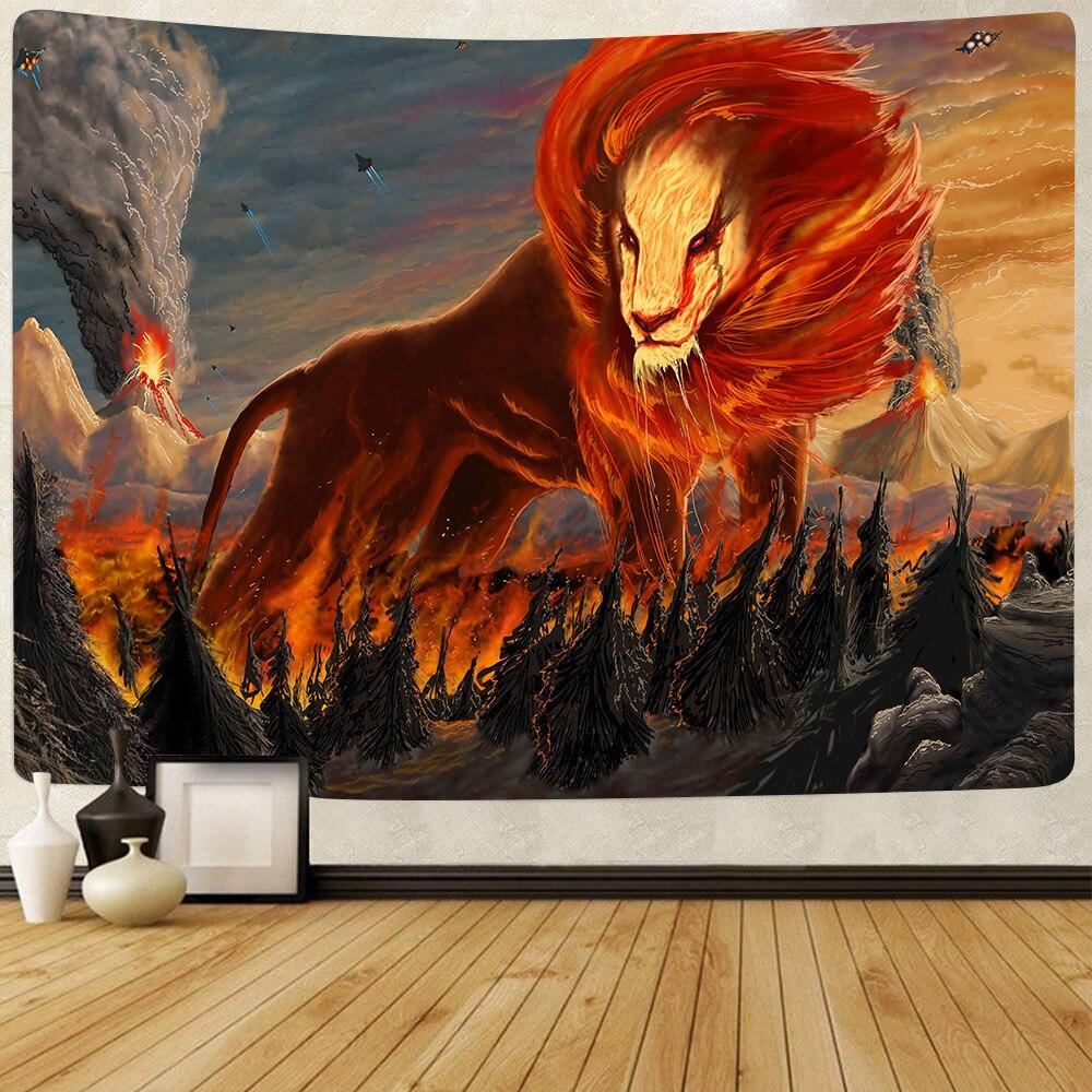 Simsant Reggae Rasta Lion King Tapestry Volcano Tornado Wall Hanging Tapestries for Living Room Bedroom Home Blanket Decor