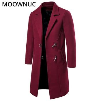 Long Woollen Overcoat Male Men's Clothes Men's Coats Winter Autumn Fashion Business Smart Casual New 2019 Blends MOOWNUC MWC