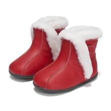 Ботильоны для маленьких девочек; Меховая зимняя обувь; Плюшевые Теплые Нескользящие Детские зимние ботинки для малышей; цвет серый, розовый, красный; chaussure de nina zapatos