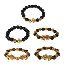Black Obsidian Stone Buddhism Six Words Pixiu Bead Bracelet Lucky Amulet Jewelry
