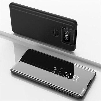 Перейти на Алиэкспресс и купить Чехол для ASUS Zenfone 6 ZS630KL, 2019, Роскошный чехол с откидной крышкой для телефона, зеркальный чехол для смартфона, чехол для ASUS Zenfone 6 ZS630KL