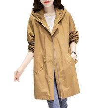 Spring Autumn Large Size 4XL Hooded Windbreaker Coats Women's Mid-Length Trench Coat 2021 New thin Female Coat Casual Outerwear