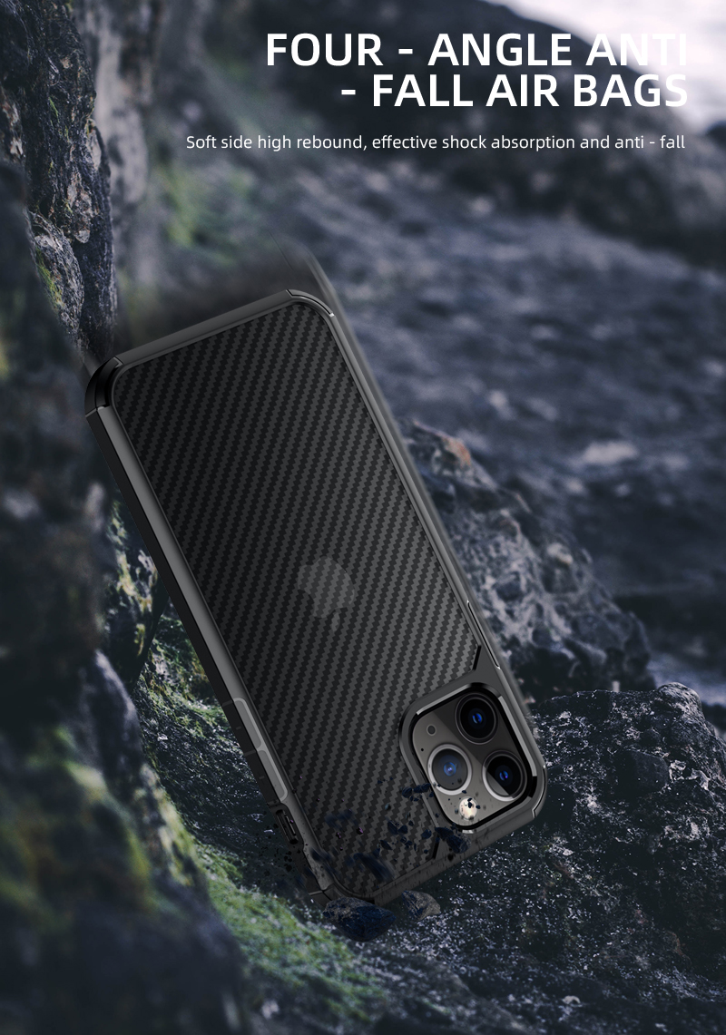Clear Crystal Carbon Fiber Texture Durable Hybrid Soft TPU Bumper + Hard PC Back Cover Case for iPhone 12 Pro Max  2