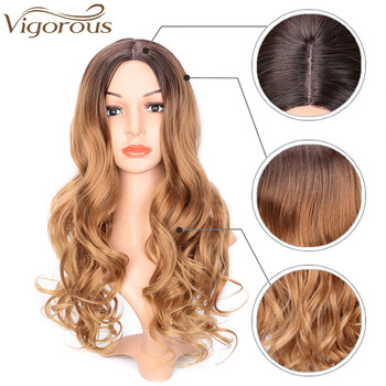Vigorous Long Ombre Brown Blonde Wavy Wig Natural Hair Part Synthetic Wigs for Women Glueless Cosplay Heat Resistant Party Wig 2