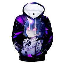 Re:Life in a diferente world from zero Sudadera con capucha 3D, suéter para hombre/mujer, sudadera con estampado 3D Harajuku Re zero, sudaderas de Anime japonés