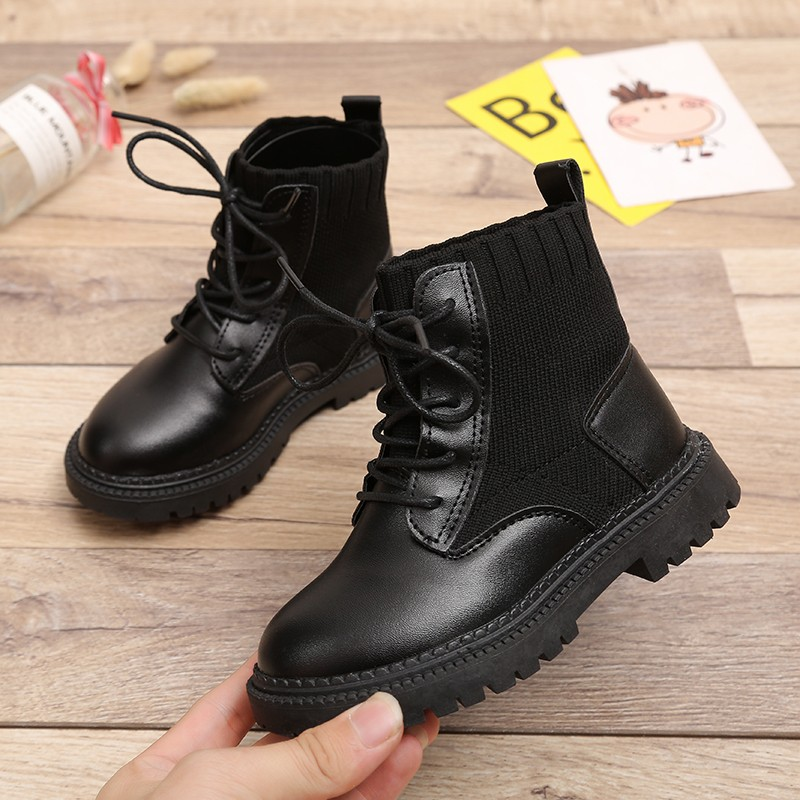 Autumn Winter 2019 Girls Fashion Boots Kids Martin Non-Slip Snow Boots Fashion Knitting Children Shoe 4 5 6 7 8 9 10 11 12 Years