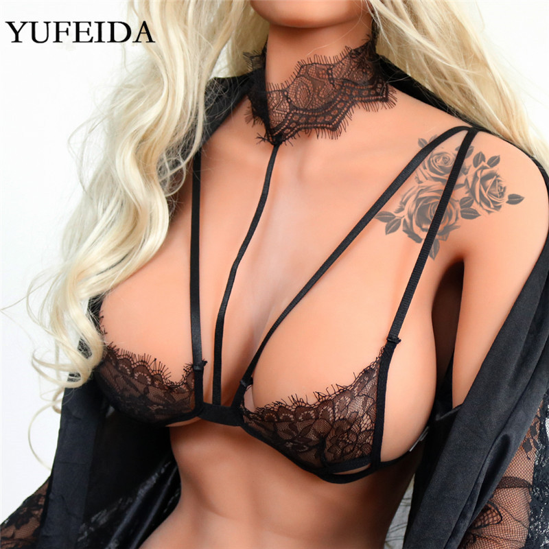 Sexy Women Lingerie Erotic Push Up Bra Female Open Up Bras Lace Wireless Lingerie Underwear Novelty Deep V Women Bra Plus Size