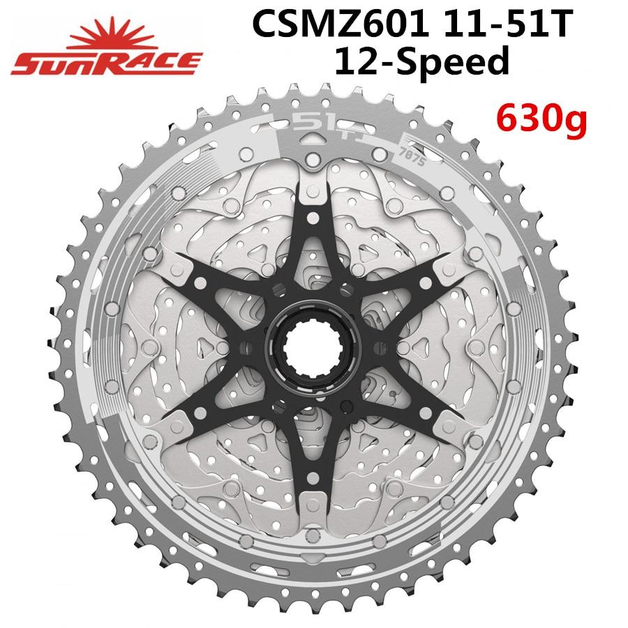 Metallic Silver 12-Speed 11-51t SunRace CSMZ903 Cassette