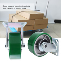 4Pcs Heavy Duty 5in Green PU Caster(2Pcs Rotating Brake Wheel + 2Pcs Rigid Wheel) rubber wheel