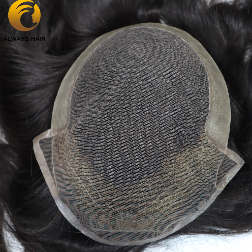 Invisible Hairline French Lace Hair Replacement For Men Bleached Knots 20 Inch 130 Free Style Lace Hair Men Toupee Human Hair