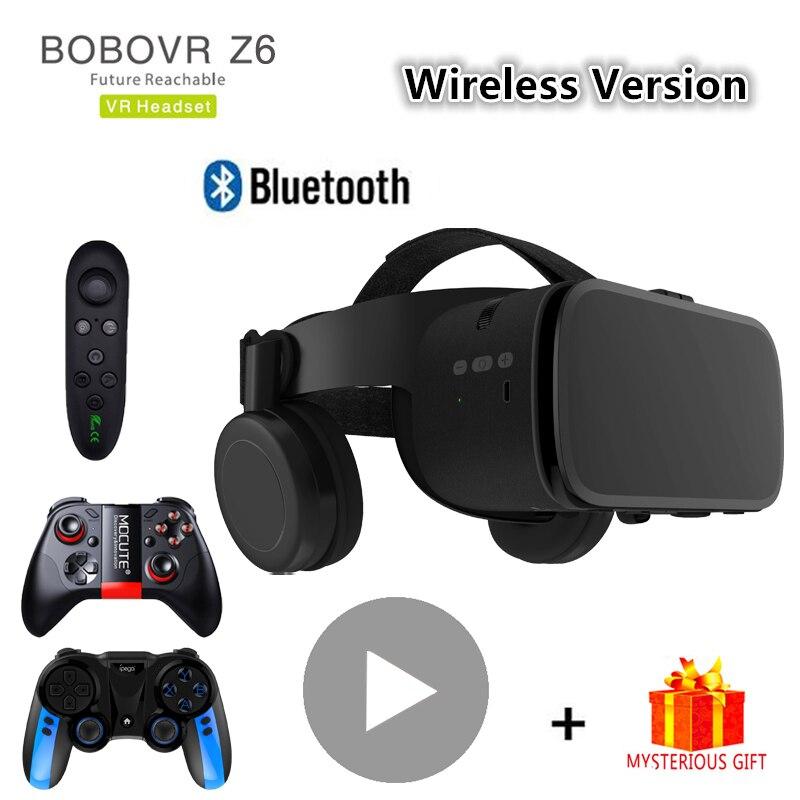 Bobo vr bobovr z6 bluetooth 3 d casque viar óculos 3d realidade virtual fone de ouvido capacete óculos lentes vídeo para telefone smartphone