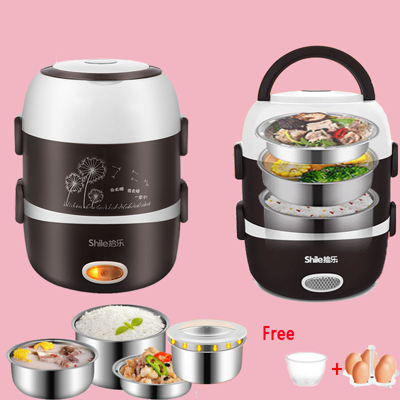 Electric Lunch Box Mini Rice Cooker Cooking Steaming Lunch Heater Box For Office Home Food Steamer Container With  Steel Bowl