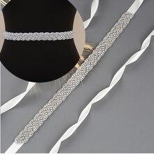 TOPQUEEN S216 Luxury Wedding Bridal Sash Rhinestone Ribbon Sparkly Belts for Formal Dress Plus Size Diamond Belt Sash Applique