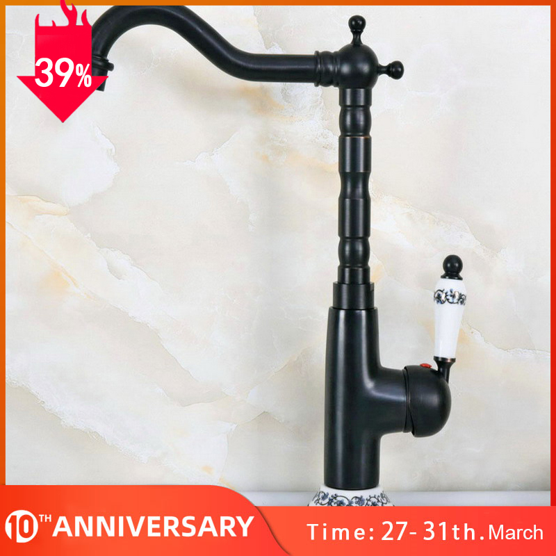 Kitchen Faucets Single Holder Single Hole Kitchen Sink Faucet Swivel Spout Ceramic Handle Black Brass Mixer Water Taps Knf651