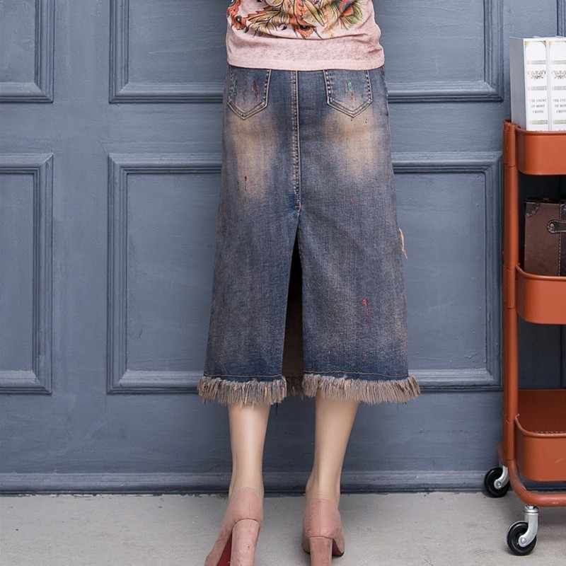 Vintage Onregelmatige Kwastje Stretch Jeans Rokken Womens Herfst Winter Street Vogue Lovertjes Bloem Denim Rok Split Midi Rok