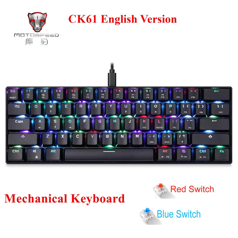 MOTOSPEED CK61 Mechanical Keyboard RGB Backlight Blue/Black Switches 61-Key Gaming Keypad 2ms Response Speed All Anti-ghost Keys