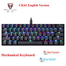 Motospeed CK61Gaming Mechanical Keyboard English Red Switch Blue Metal Wired LED Backlit RGB Anti-Ghosting for gamer adroit 2016 new ergonomics multimedia motospeed inflictor ck108 wired mechanical keyboard switches backlit rgb sl jul26