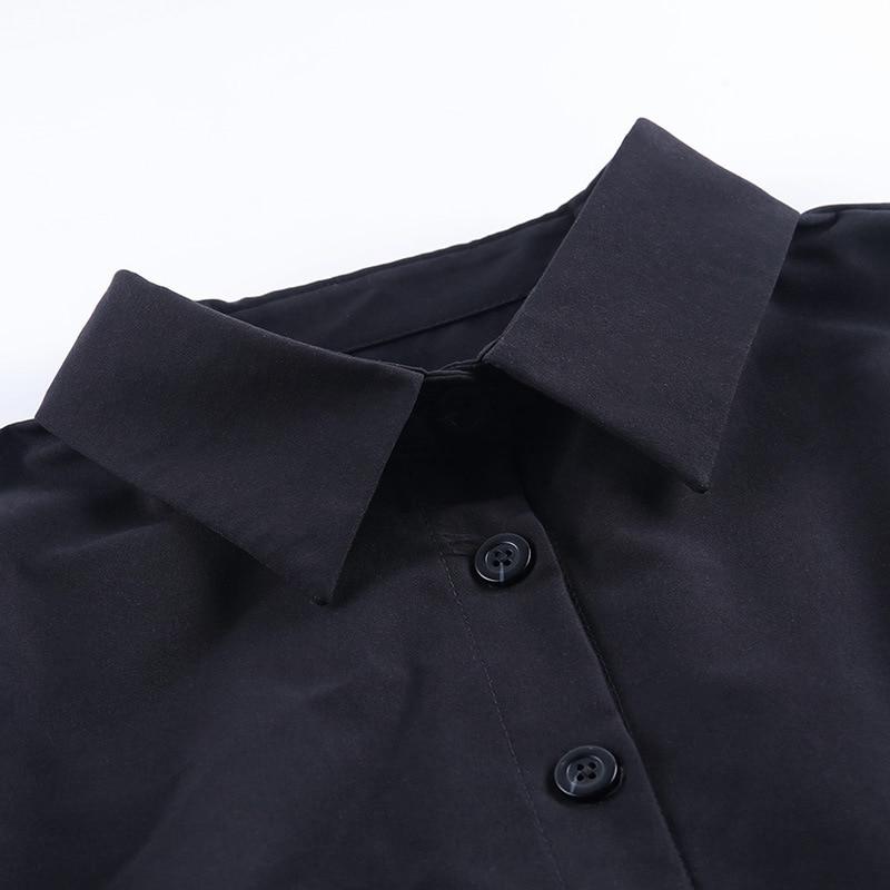 Women Spring Summer Shirt 2020 Solid Long Puff Sleeve See-Through Mesh Patchwork Cotton Slim Elegant Blouse Shirts Office Top