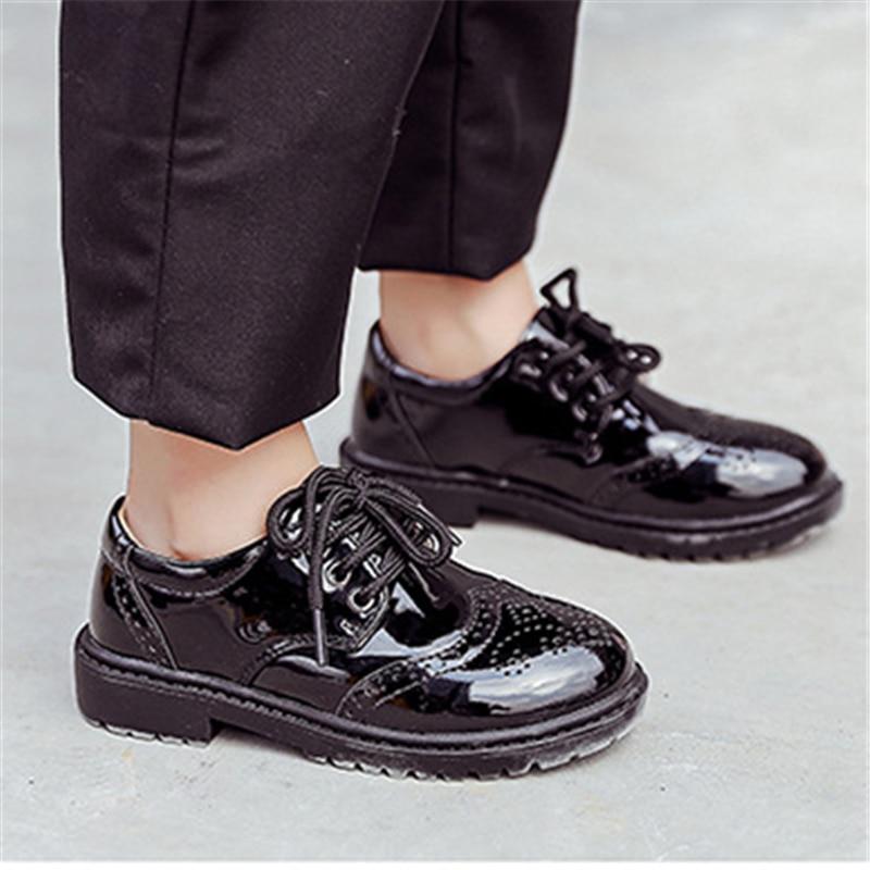 Erkek siyah hakiki deri ayakkabı İngiliz tarzı bebek okul performansı ayakkabı orta topuk nefes çocuklar loafer'lar