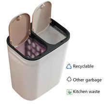 Pressing-Type Trash Can 15L Huge Capacity Dry And Wet Classified Creative Household  Double Cover Waste Bin Storage Bucket