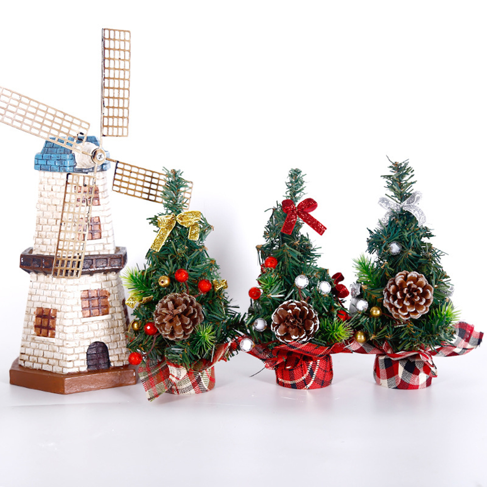 Xmas New Year Mini Artificial Christmas Decoration Tree Desktop Ornament Gifts Simulation Plant