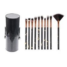 10 in 1 Leather Barrel Eye Shadow Brush Blush Brush Loose Powder Brush Eye Brush Eye Makeup Cosmetic Brush Set Kit Tools недорого