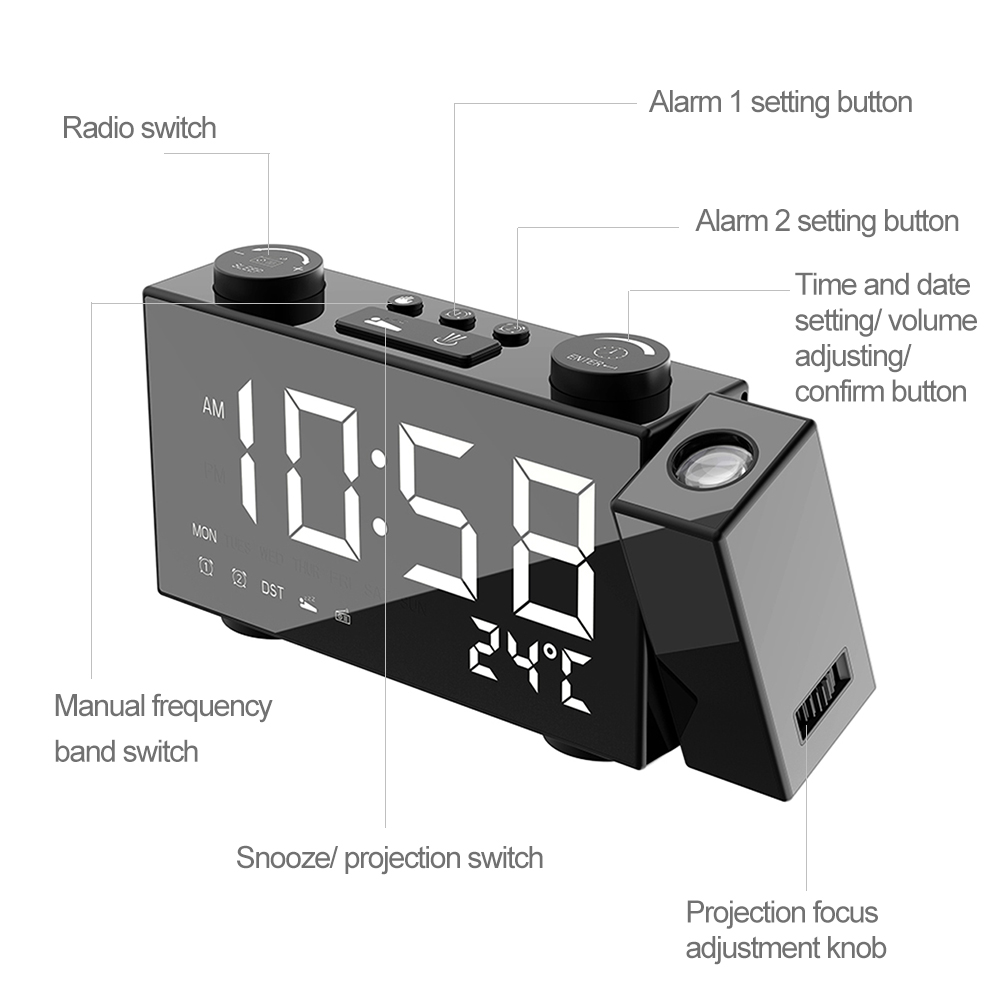 Image 4 - Digital FM Projection Radio Alarm Clock 3 Time Displays Dual Alarm Clock with Snooze Thermometer Clock USB/Batterys Powers-in Alarm Clocks from Home & Garden