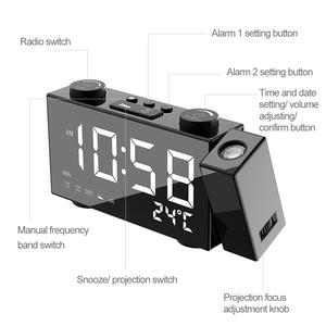 Image 3 - דיגיטלי הקרנת FM רדיו שעון מעורר 3 זמן מציג כפול שעון מעורר עם נודניק מדחום שעון USB/Batterys סמכויות