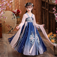 Chinese Girls Embroider Traditional HanFu Ancient Perform Dress Kids Birthday Party Dress Photography Dress New Year Dress