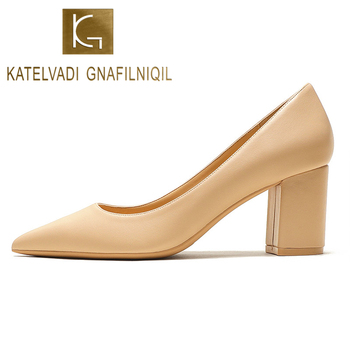KATELVADI Shoes Woman Pumps 6.5CM High Heels Pointed Toe Split Leather Beige Shoes Square Heels Women Shoes HZL006