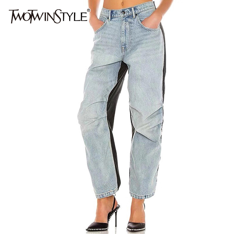 TWOTWINSTYLE Casual Hit Color Denim Trouser For Women High Waist Pocket Straight Jeans Female 2019 Autumn Large Size Fashion New