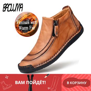 Modne zimowe męskie buty ciepłe futrzane męskie buty śniegowe skórzane męskie buty jesienne męskie podstawowe buty odkryte męskie buty do jazdy samochodem tanie i dobre opinie BAOLUMA Buty śniegu CN (pochodzenie) Skóra Split ANKLE Stałe Pluszowe Plush Okrągły nosek RUBBER Zima Mieszkanie (≤1cm)