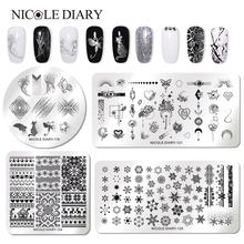 NICOLE DIARY Nail Stamping Plate Rectangle Round Square Animal World Series Art Image Stencil for Nails
