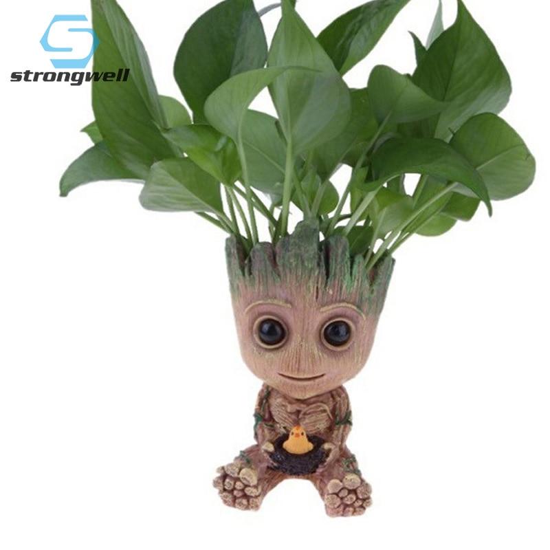 Strongwell Flowerpot Baby Groot Pen Pot Holder Plants Flower Pot Cute Action Figures Toys For Kids Gift Desktop Decoration