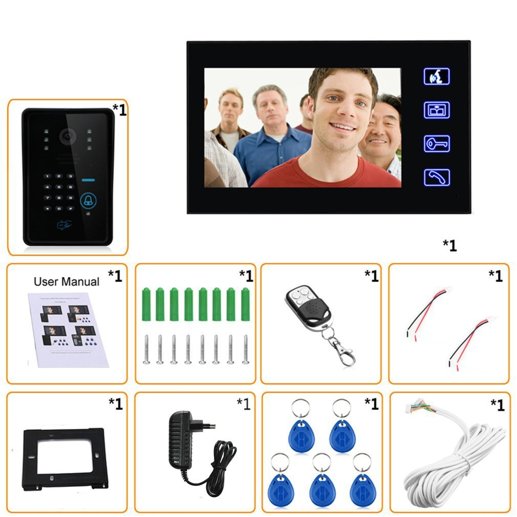 7 Inch Color HD Touch Screen Wired RFID Password Video Door Phone Doorbell With IR Camera 200M Remote Control System Intercom